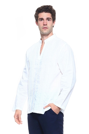 Wholesale Clothing Men's Linen Blend Mandarin Collar Lounge Shirt with Long Sleeve Pleated Front  -M-1800-B