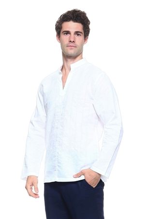 Wholesale Clothing Men's Linen Blend Mandarin Collar Lounge Shirt with Long Sleeve and Embroidered Front Design -M-1801-A