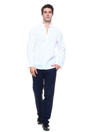 Wholesale Clothing Men's Linen Blend Mandarin Collar Lounge Shirt with Long Sleeve and Embroidered Front Design  -M-1801-B