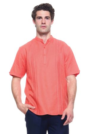 Wholesale Clothing Men's Linen Blend Mandarin Collar Lounge Shirt with Short Sleeve and Embroidered Front Design  -M-1802-B