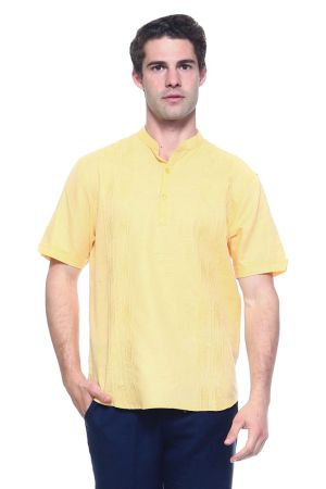 Wholesale Clothing Men's Linen Blend Mandarin Collar Lounge Shirt with Short Sleeve and Embroidered Front Design  -M-1803-B