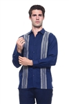 Wholesale Clothing Men's Linen Blend Embroidered Front Design Button Down Long Sleeve Shirt -M-1804-A