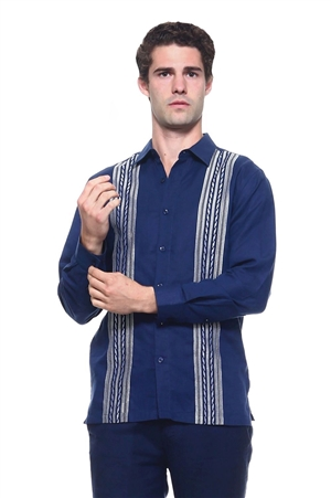 Wholesale Clothing Men's Linen Blend Embroidered Front Design Button Down Long Sleeve Shirt -M-1804-B
