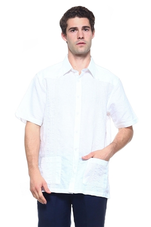 Wholesale Clothing Men's Linen Blend Short Sleeve 2 Pocket Guayabera Shirt -M-1805-A