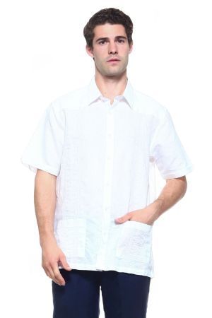 Wholesale Clothing Men's Linen Blend Short Sleeve 2 Pocket Guayabera Shirt -M-1805-B