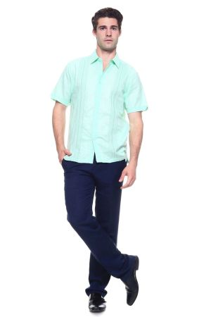 Wholesale Clothing Men's Linen Blend Embroidered Front Design Button Down Short Sleeve Shirt  -M-1806-B