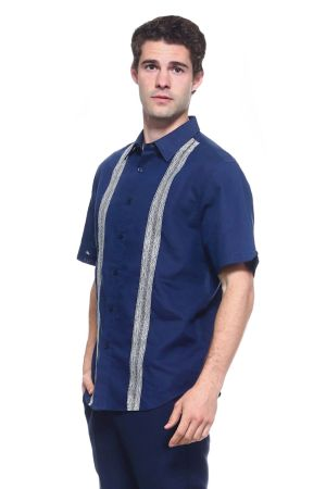 Wholesale Clothing Men's Linen Blend Embroidered Front Design Button Down Short Sleeve Shirt -M-1807-A