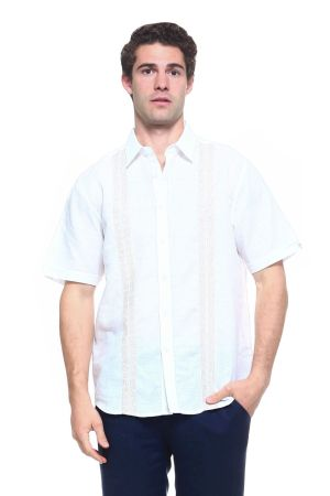 Wholesale Clothing Men's Linen Blend Embroidered Front Design Button Down Short Sleeve Shirt -M-1807-B