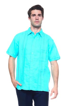 Wholesale Clothing Men's Linen Blend Embroidered Front Design Button Down Short Sleeve Shirt -M-1809-A