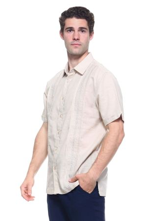 Wholesale Clothing Men's Linen Blend Embroidered Front Design Button Down Short Sleeve Shirt  -M-1809-B