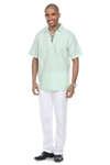 Wholesale Clothing Men's Beach Resort Wear Linen Shirt with Lace Up Collar Short Sleeve -M-1810-A