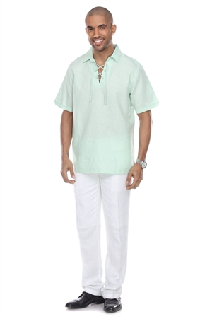 Wholesale Clothing Men's Linen Blend Lace Up Neckline Short Sleeve Lounge Shirt -M-1810-A