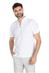 Wholesale Clothing Men's Beach Resort Wear Linen Shirt with Lace Up Collar Short Sleeve -M-1810-B