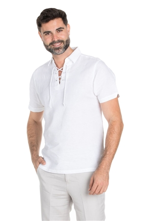 Wholesale Clothing Men's Linen Blend Lace Up Neckline Short Sleeve Lounge Shirt -M-1810-B