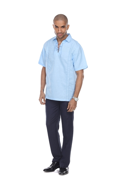 Wholesale Clothing Men's Beach Resort Wear Embroidered Linen Shirt with Lace Up Collar Short Sleeve -M-1811-A
