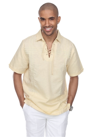 Wholesale Clothing Men's Beach Resort Wear Embroidered Linen Shirt with Lace Up Collar Short Sleeve -M-1811-B