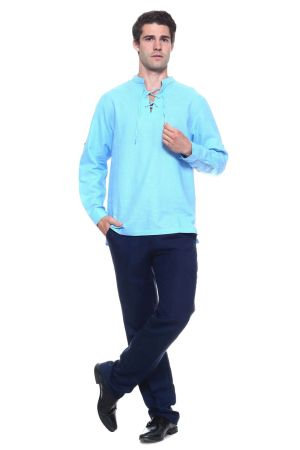 Wholesale Clothing Men's Linen Blend Mandarin Collar Lace Up Neckline Long Sleeve Shirt -M-1812-A