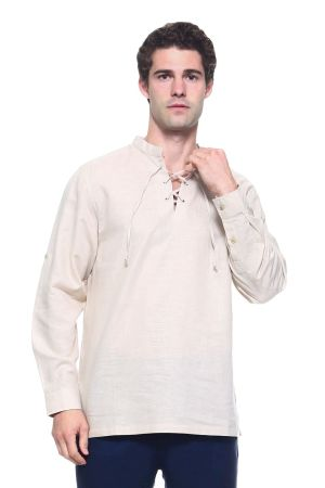 Wholesale Clothing Men's Linen Blend Mandarin Collar Lace Up Neckline Long Sleeve Shirt -M-1812-B