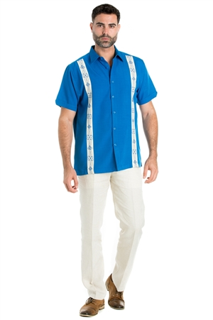 Wholesale Clothing Casual Shirt with Embroidered Panel Short Sleeve and Button Down -M-1813-B