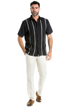 Wholesale Clothing Casual Shirt with Stitched Panel Pintuck Stripe Short Sleeve and Button Down -M-1821-A