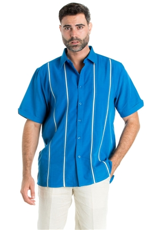 Wholesale Clothing Casual Shirt with Stitched Panel Pintuck Stripe Short Sleeve and Button Down -M-1821-B