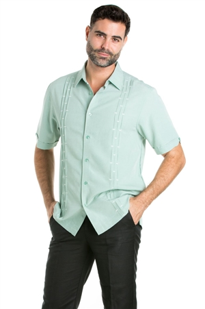 Wholesale Clothing Casual Shirt with Multi Pintuck Short Sleeve and Button Down -M-1823-B