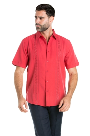 Wholesale Clothing Casual Shirt with Geometric Linear Embroidery Short Sleeve and Button Down -M-1824-A