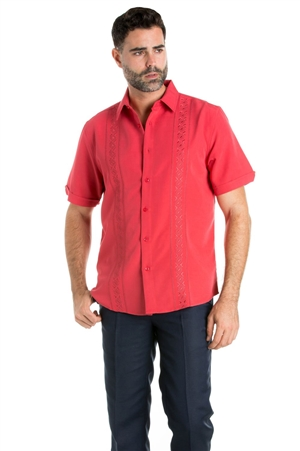 Wholesale Clothing Casual Shirt with Geometric Linear Embroidery Short Sleeve and Button Down -M-1824-B