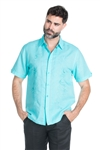 Wholesale Clothing Casual Linen Blend Pin Tuck Embroidery Shirt -M-1827-B