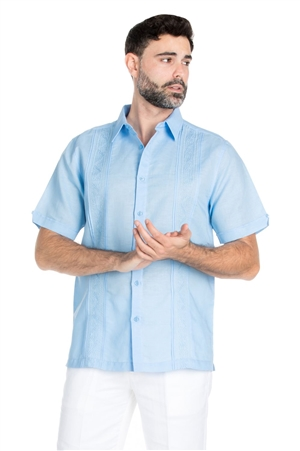 Wholesale Clothing Men's Casual Resort Wear Linen Blend Embroidered Short Sleeve Shirt -M-1831-A