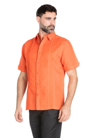 Wholesale Clothing Men's Casual Resort Wear Linen Blend Embroidered Short Sleeve Shirt -M-1831-B
