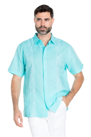 Wholesale Clothing Men's Casual Linen Blend Embroidered Short Sleeve Shirt -M-1832-A