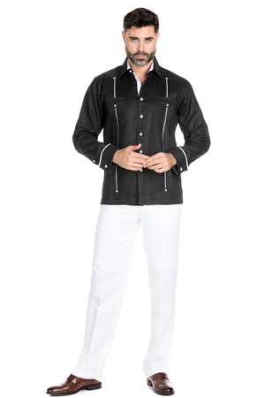 Wholesale Clothing Men's Stylish 100% Linen Guayabera Shirt Long Sleeve -M-1843-A