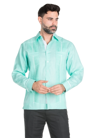 Wholesale Clothing Men's Stylish 100% Linen Guayabera Shirt Long Sleeve -M-1843-B