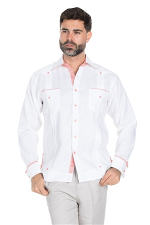 Wholesale Clothing Men's Stylish 100% Linen Guayabera Shirt Long Sleeve -M-1844-A