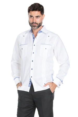 Wholesale Clothing Men's Stylish 100% Linen Guayabera Shirt Long Sleeve -M-1844-B