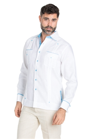Wholesale Clothing Men's Stylish Big & Tall 100% Linen Guayabera Shirt Long Sleeve -M-1844-C