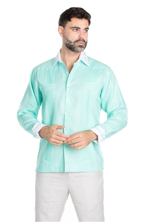 Wholesale Clothing Men's Stylish 100% Linen Guayabera Shirt Long Sleeve -M-1845-A