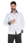 Wholesale Clothing Men's Stylish 100% Linen Guayabera Shirt Long Sleeve -M-1845-B