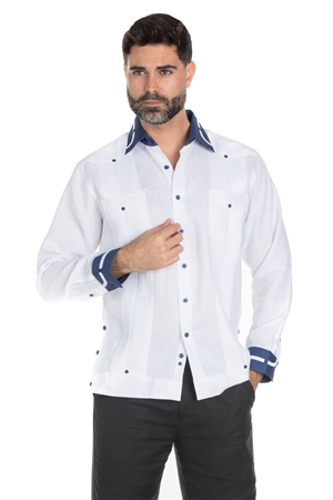 Wholesale Clothing Men's Stylish Big & Tall 100% Linen Guayabera Shirt Long Sleeve -M-1845-C