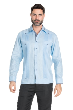 Wholesale Clothing Men's Stylish 100% Linen Guayabera Shirt Long Sleeve -M-1846-A