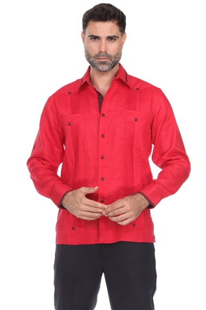 Wholesale Clothing Men's Premium Linen Guayabera Shirt Long Sleeve with Collar Trim Accent -M-1846-B
