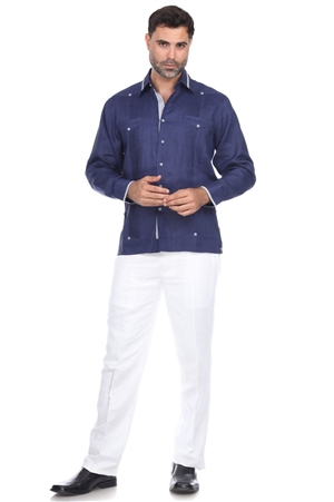 Wholesale Clothing Men's Big & Tall Premium Linen Guayabera Shirt with Collar Trim Accent -M-1846-C