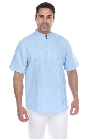 Wholesale Clothing Men's Beach Resort Wear Embroidered Linen Mandarin Collar Short Sleeve Shirt  -M-1846-SS-A