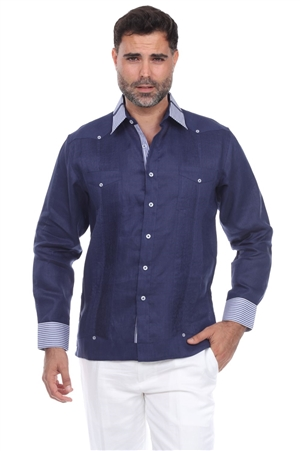 Wholesale Clothing Men's Stylish 100% Linen Guayabera Shirt Long Sleeve -M-1847-A