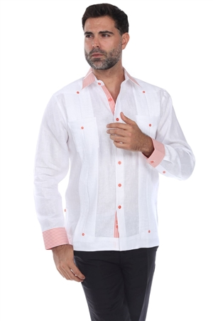 Wholesale Clothing Men's Stylish Pinstripe Collar Trim Guayabera Shirt Long Sleeve -M-1847-B