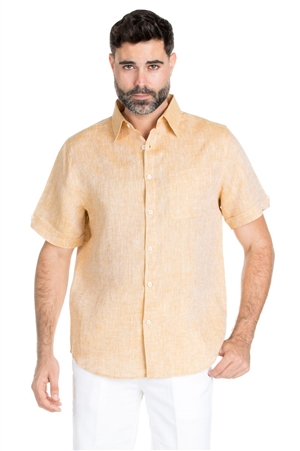 Wholesale Clothing Men's Classic Resort Wear 100% Linen Short Sleeve Shirt -M-1848-A