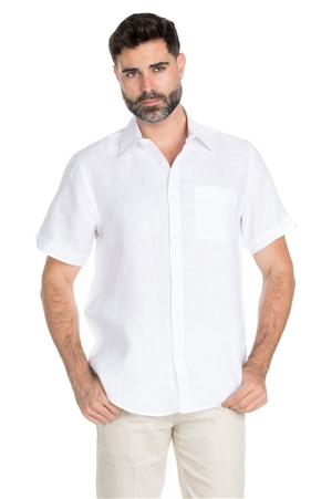 Wholesale Clothing Men's Classic Resort Wear 100% Linen Short Sleeve Shirt -M-1848-B
