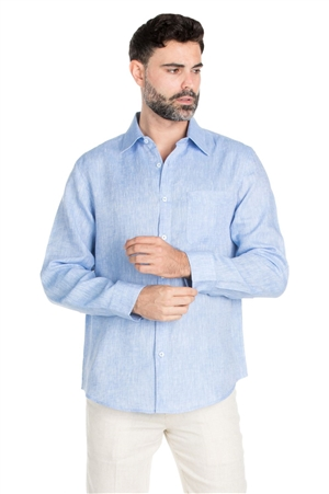 Wholesale Clothing Men's Classic Resort Wear 100% Linen Long Sleeve Shirt -M-1849-A