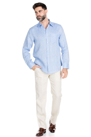 Wholesale Clothing Men's Classic Resort Wear 100% Linen Long Sleeve Shirt -M-1849-B